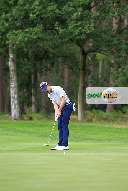 Sam Burns (USA) on the 16th during Day 2 Singles for the Junior Ryder Cup 2014 at Blairgowrie Golf Club on Tuesday 23rd September 2014.<br /> Picture:  Thos Caffrey / www.golffile.ie