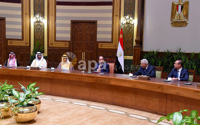 Egyptian President Abdel Fattah al-Sisi meets with council of Arab Media Ministers, in Cairo, Egypt, on July 12, 2017. Photo by Egyptian President Office