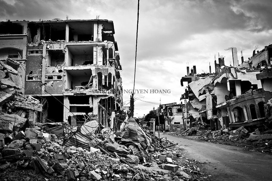GAZA: quartier de Beit Hanoun, nord de Gaza, detruit par les bombardements israeliens. <br /> <br /> GAZA: Beit Hanoun, northern  neighborhood of Gaza, destroyed by Israeli bombing.