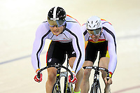 Southland's Ben Stewart and Fabian Wybrow at the BikeNZ Elite & U19 Track National Championships, Avantidrome, Home of Cycling, Cambridge, New Zealand, Sunday, March 16, 2014. Credit: Dianne Manson