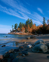 Pictured Rocks National Lakeshore, MI<br /> Boulders and rocks on the shaded shoreline of Lake Superior &amp; Mosquito River