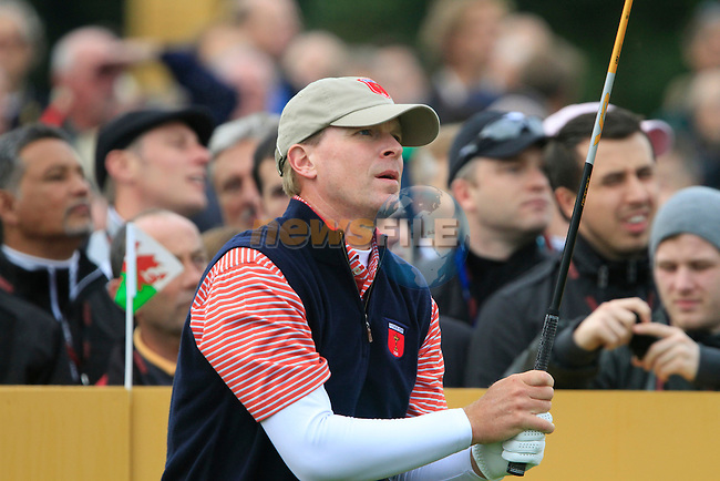 Steve Stricker tees off on the 6th tee during Practice Day 3 of the The 2010 Ryder Cup at the Celtic Manor, Newport, Wales, 29th September 2010..(Picture Eoin Clarke/www.golffile.ie)