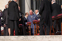Vatican City, October 13, 2019. Britain's Prince Charles arrives in St. Peter's Square at the Vatican to attend a canonization Mass. Pope Francis on Sunday canonized Cardinal John Henry Newman, the 19th-century Anglican convert who became an immensely influential, unifying figure in both the Anglican and Catholic churches. Francis presided over Mass on Sunday in a packed St. Peter's Square to declare Newman and four women saints. (Antonello Nusca/BuenavistaPhoto)