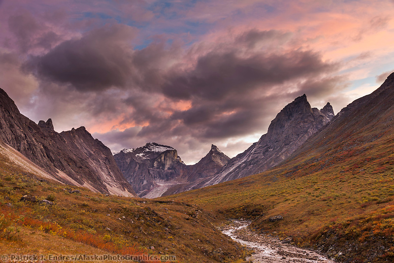 Evening light over the Arrigetch creek valley, Xanadu, Arial and Caliban (right) Peaks of the Arrigetch Peaks, Gates of the Arctic National Park, Alaska.