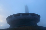 Buzludzha monument former communist party headquarters, Bulgaria, eastern Europe in dense fog