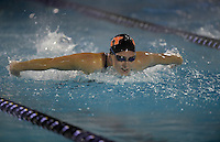 Feb 22, 2015; Whittier, CA, USA; Lizzy Kosin of Occidental College competes in the womens 200-yard butterfly at the SCIAC swimming championships at Whittier College. Photo by Kirby Lee