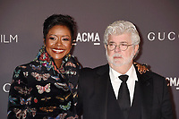 LOS ANGELES, CA - NOVEMBER 04: Honoree/Director/producer George Lucas (R) and Mellody Hobson attend the 2017 LACMA Art + Film Gala Honoring Mark Bradford and George Lucas presented by Gucci at LACMA on November 4, 2017 in Los Angeles, California.<br /> CAP/ROT/TM<br /> &copy;TM/ROT/Capital Pictures