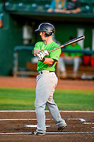 Casey Schroeder (4) of the Great Falls Voyagers at bat against the Ogden Raptors in Pioneer League action at Lindquist Field on August 18, 2016 in Ogden, Utah. Ogden defeated Great Falls 10-6. (Stephen Smith/Four Seam Images)