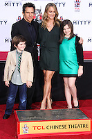 HOLLYWOOD, CA - DECEMBER 03: Quinlin Stiller, Ben Stiller, Christine Taylor, Ella Stiller attending the Ben Stiller Hand/Footprint Ceremony held at TCL Chinese Theatre on December 3, 2013 in Hollywood, California. (Photo by Xavier Collin/Celebrity Monitor)