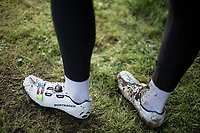 World Champion Wout Van Aert (BEL/Crelan-Charles) shoes.  <br /> <br /> cx Telenet Superprestige Gieten 2017 (NED)