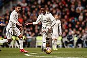 3rd February 2019, Santiago Bernabeu, Madrid, Spain; La Liga football, Real Madrid versus Alaves; Vinicius Junior (Real Madrid)  plays the ball to the wing