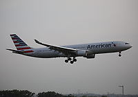 An American Airlines Airbus A330-323 Registration N273AY landing on runway 09L at London Heathrow Airport on 3.8.19 arriving from Philadelphia International Airport, United States of America.