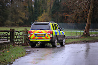 Pictured: A police car by river Ogmore near Stormy Down, Wales, UK. Tuesday 22 November 2016<br />Re: The search has resumed for Russell Sherwood, 69, who went missing in river Ogmore, Bridgend County on Sunday.<br />Sherwood, of Cilfrew, Neath, was heading for Ewenny in the Vale of Glamorgan during heavy rain in the morning but never arrived.<br />He disappeared at Stormy Down and car parts were found on the river bank.<br />South Wales Police have confirmed registration plates recovered from a bumper match Mr Sherwood's car.