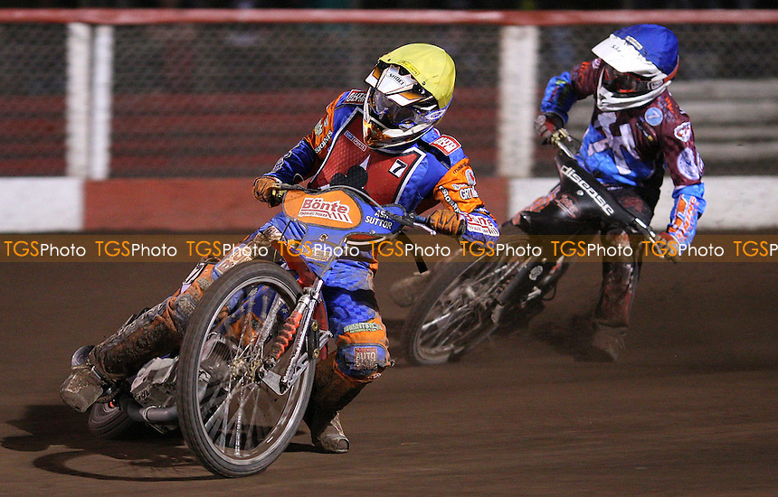 Heat 8: Kyle Legault (blue) and Kozza Smith (yellow) - Lakeside Hammers vs Belle Vue Aces, Elite League Speedway at the Arena Essex Raceway, Purfleet - 08/04/11 - MANDATORY CREDIT: Rob Newell/TGSPHOTO - Self billing applies where appropriate - 0845 094 6026 - contact@tgsphoto.co.uk - NO UNPAID USE.