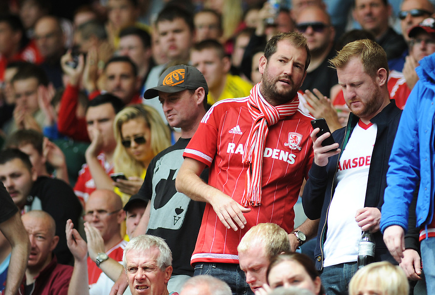 Middlesbrough fans during today's match<br /> <br /> Photographer Kevin Barnes/CameraSport<br /> <br /> Football - The Football League Sky Bet Championship - Preston North End v Middlesbrough -  Sunday 9th August 2015 - Deepdale - Preston<br /> <br /> &copy; CameraSport - 43 Linden Ave. Countesthorpe. Leicester. England. LE8 5PG - Tel: +44 (0) 116 277 4147 - admin@camerasport.com - www.camerasport.com