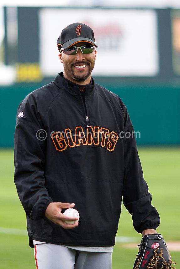 Mar 17, 2008; Tucson, AZ, USA; San Francisco Giants right fielder Randy Winn (2) smiles prior to a game against the Colorado Rockies at Hi Corbett Field.