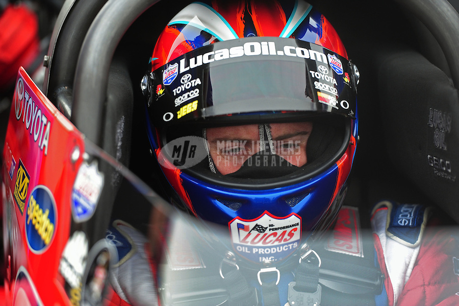 Nov. 10, 2011; Pomona, CA, USA; NHRA top fuel dragster driver Shawn Langdon during qualifying at the Auto Club Finals at Auto Club Raceway at Pomona. Mandatory Credit: Mark J. Rebilas-.