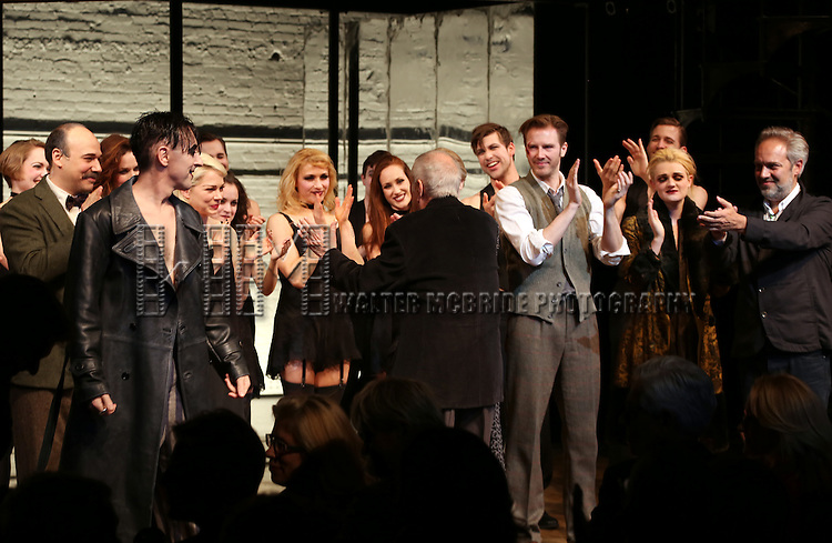 Danny Burstein, Alan Cumming, Michelle Williams, Linda Emond, John Kander, Bill Heck, Gayle Rankin and Sam Mendes during the Broadway Opening Night Performance Curtain Call for 'Cabaret' at Studio 54 on April 24, 2014 in New York City.