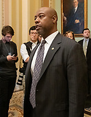 United States Senator Tim Scott (Republican of South Carolina) departs the US Senate Chamber after casting two votes on legislation to reopen the government in the US Capitol in Washington, DC on Thursday, January 24, 2019.  Both proposals were voted upon and both failed to get enough votes to pass.<br /> Credit: Ron Sachs / CNP