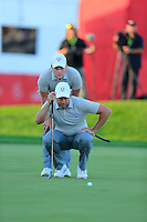 Lee Westwood and Danny Willett (ENG) Team Europe lines up his putt at the 18th green during Saturday Afternoon Fourball Matches of the 41st Ryder Cup, held at Hazeltine National Golf Club, Chaska, Minnesota, USA. 1st October 2016.<br /> Picture: Eoin Clarke | Golffile<br /> <br /> <br /> All photos usage must carry mandatory copyright credit (&copy; Golffile | Eoin Clarke)