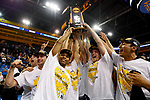 LOS ANGELES - MAY 5:  The Long Beach State 49ers celebrate winning the Division 1 Men's Volleyball Championship against the UCLA Bruins on May 5, 2018 at Pauley Pavilion in Los Angeles, California. The Long Beach State 49ers defeated the UCLA Bruins 3-2. (Photo by John W. McDonough/NCAA Photos via Getty Images)