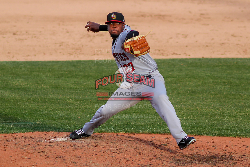 Quad Cities River Bandits pitcher Erasmo Pinles (27) delivers a pitch during a Midwest League game against the Wisconsin Timber Rattlers on April 8, 2017 at Fox Cities Stadium in Appleton, Wisconsin.  Wisconsin defeated Quad Cities 3-2. (Brad Krause/Four Seam Images)