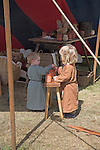 Saxon children, Living History event, Sutton Hoo, Suffolk, England