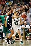 01 APRIL 2012:  Bria Hartley (14) of the University of Connecticut pressures Kayla McBride (23) of the University of Notre Dame during the Division I Women's Final Four Semifinals at the Pepsi Center in Denver, CO.  Notre Dame defeated UCONN 83-75 to advance to the national championship game.  Jamie Schwaberow/NCAA Photos