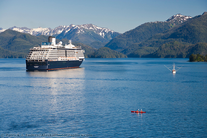 Commercial fishing vessel, kayakers, Holland America cruise ship Oosterdam, in Sitka Sound, Sitka, southeast, Alaska.