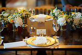 Indian Prime Minister Narendra Modi's place setting is shown before dinner with U.S. President Donald Trump at the White House June 26, 2017 in Washington, DC. Trump and Modi met earlier today in the Oval Office to discuss a range of bilateral issues.  <br /> Credit: Win McNamee / Pool via CNP