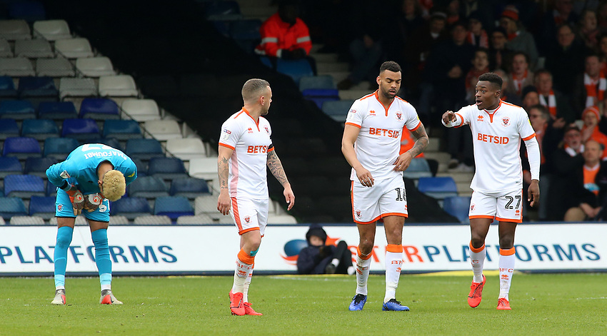 The Blackpool players show their frustration after going 1-0 behind<br /> <br /> Photographer David Shipman/CameraSport<br /> <br /> The EFL Sky Bet League One - Luton Town v Blackpool - Saturday 6th April 2019 - Kenilworth Road - Luton<br /> <br /> World Copyright © 2019 CameraSport. All rights reserved. 43 Linden Ave. Countesthorpe. Leicester. England. LE8 5PG - Tel: +44 (0) 116 277 4147 - admin@camerasport.com - www.camerasport.com