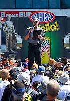 Jun 7, 2015; Englishtown, NJ, USA; NHRA announcer Alan Reinhart during driver's introductions during the Summernationals at Old Bridge Township Raceway Park. Mandatory Credit: Mark J. Rebilas-