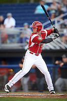 Batavia Muckdogs designated hitter Colby Lusignan (35) at bat during a game against the Aberdeen Ironbirds on July 15, 2016 at Dwyer Stadium in Batavia, New York.  Aberdeen defeated Batavia 4-2. (Mike Janes/Four Seam Images)
