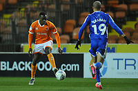 Blackpool's Marc Bola under pressure from Gillingham's Mark Marshall<br /> <br /> Photographer Kevin Barnes/CameraSport<br /> <br /> The EFL Sky Bet League One - Blackpool v Gillingham - Tuesday 11th February 2020 - Bloomfield Road - Blackpool<br /> <br /> World Copyright © 2020 CameraSport. All rights reserved. 43 Linden Ave. Countesthorpe. Leicester. England. LE8 5PG - Tel: +44 (0) 116 277 4147 - admin@camerasport.com - www.camerasport.com