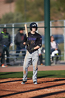Jordan Thompson (2) of Samuel Champion High School in Boerne, Texas during the Baseball Factory All-America Pre-Season Tournament, powered by Under Armour, on January 13, 2018 at Sloan Park Complex in Mesa, Arizona.  (Zachary Lucy/Four Seam Images)