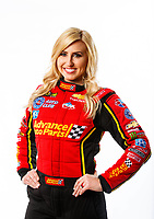 Feb 7, 2018; Pomona, CA, USA; NHRA funny car driver Courtney Force poses for a portrait during media day at Auto Club Raceway at Pomona. Mandatory Credit: Mark J. Rebilas-USA TODAY Sports