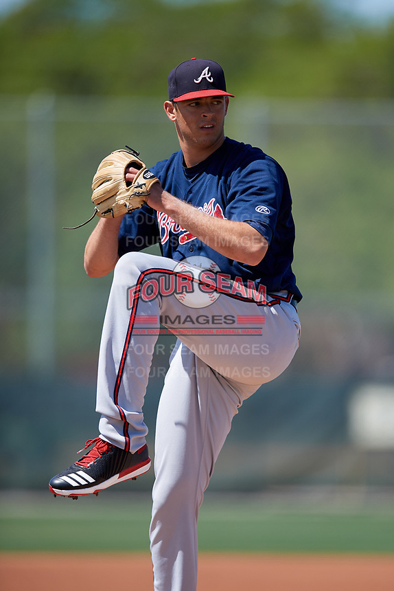 Atlanta Braves pitcher Jeremy Walker (84) during a minor league Spring Training game against the Pittsburgh Pirates on March 13, 2018 at Pirate City in Bradenton, Florida.  (Mike Janes/Four Seam Images)