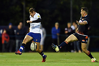 Darren Atkins of Bath Rugby puts boot to ball. Pre-season friendly match, between Edinburgh Rugby and Bath Rugby on August 17, 2018 at Meggetland Sports Complex in Edinburgh, Scotland. Photo by: Patrick Khachfe / Onside Images