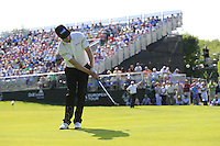 Mikko Ilonen (FIN) chips onto the 18th green during Friday's Round 2 of the 2014 Irish Open held at Fota Island Resort, Cork, Ireland. 20th June 2014.<br /> Picture: Eoin Clarke www.golffile.ie