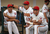 August 29, 2003:  Juan Padilla, Alex Prieto, and Luis Rodriguez of the Red Wings, Class-AAA affiliate of the Minnesota Twins, during a International League game at Frontier Field in Rochester, NY.  Photo by:  Mike Janes/Four Seam Images