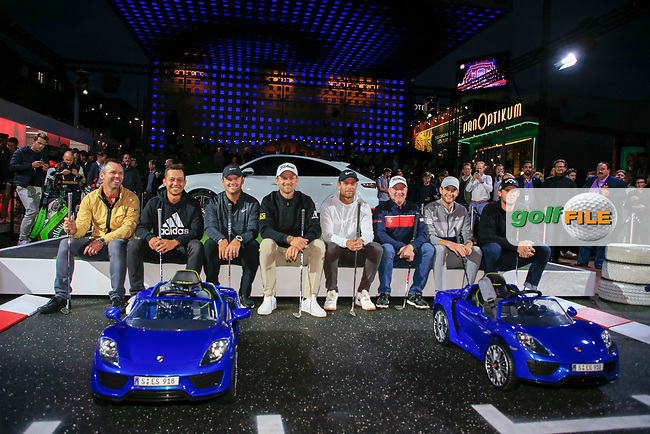 Paul Casey (ENG) Xander Schauffele (USA) Patrick Reed (USA) Bernd Wiesberger (AUT) Lucas Bjerregaard (DEN) Richard McEvoy (ENG) Max Smidt (GER) and Thomas Pieters (BEL) at the Porsche Urban Golf Challenge in the Reeperbahn the famous Red light district in Hamburg ahead of the Porsche European Open at Green Eagles Golf Club, Luhdorf, Winsen, Germany. 03/09/2019.<br /> Picture Fran Caffrey / Golffile.ie<br /> <br /> All photo usage must carry mandatory copyright credit (© Golffile | Fran Caffrey)