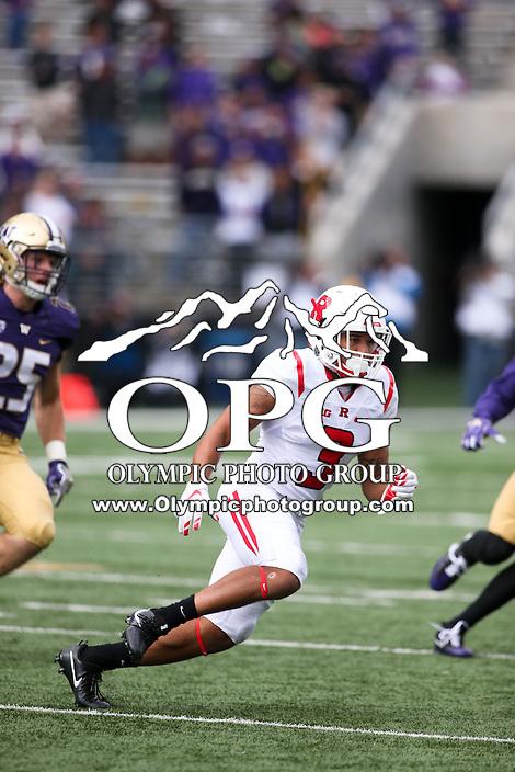 03 September 2016: Rutgers Jawuan Harris against Washington.  Washington defeated Rutgers 48-13 at the University of Washington in Seattle, WA.