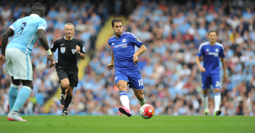 Chelsea's Eden Hazard<br /> <br /> Photographer Dave Howarth/CameraSport<br /> <br /> Football - Barclays Premiership - Manchester City v Chelsea - Sunday 16th August 2015 - Etihad Stadium - Manchester<br /> <br /> &copy; CameraSport - 43 Linden Ave. Countesthorpe. Leicester. England. LE8 5PG - Tel: +44 (0) 116 277 4147 - admin@camerasport.com - www.camerasport.com