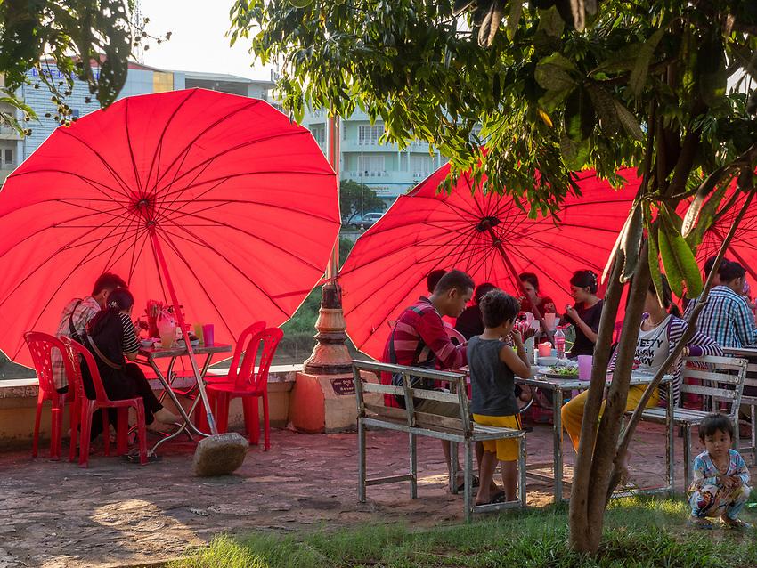 Street scene along the river in Battambang, Cambodia