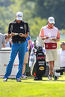 Bethesda, MD - June 25, 2016:  Chesson Hadley (USA) writes his score during Round 3 of professional play at the Quicken Loans National Tournament at the Congressional Country Club in Bethesda, MD, June 25, 2016.  (Photo by Elliott Brown/Media Images International)
