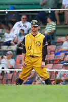Jacksonville Suns pitcher Trevor Williams (43) coaching first during the 20th Annual Rickwood Classic Game against the Birmingham Barons on May 27, 2015 at Rickwood Field in Birmingham, Alabama.  Jacksonville defeated Birmingham by the score of 8-2 at the countries oldest ballpark, Rickwood opened in 1910 and has been most notably the home of the Birmingham Barons of the Southern League and Birmingham Black Barons of the Negro League.  (Mike Janes/Four Seam Images)