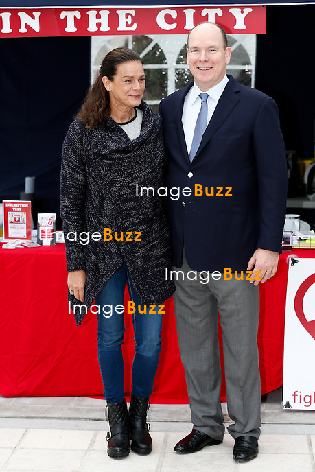 November 24, 2014 - Monte Carlo, MONACO - H. S. H. Prince Albert II of Monaco and sister H. S. H. Princess Stephanie of Monaco attend 'Test in the City' event organised in the Principality against AIDS, just a few days before the World day against AIDS on the december 1st. <br /> Princess Stephanie is engaged in the fight against AIDS for many years. 'Test in the city' permits to everybody to do a test to know if he is affected by the disease in just a few minutes.