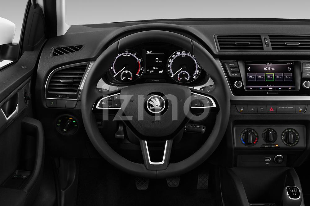 Car pictures of steering wheel view of a 2019 Skoda Fabia-Combi Ambition 5 Door Wagon Steering Wheel