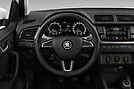 Car pictures of steering wheel view of a 2019 Skoda Fabia-Combi Ambition 5 Door Wagon Steering Wheel