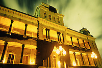 """Iolani Palace at night draped in black in observance of 100th anniversary of overthrow of the Hawaiian monarchy/""""Onipa'a;"""" Honolulu, Hawaii.1-17-93"""